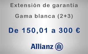 Extensión de garantía 2+3 Allianz de 150,01 a 300 € - Gama blanca