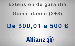 Extensión de garantía 2+3 Allianz de 300,01 a 500 € - Gama blanca