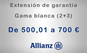 Extensión de garantía 2+3 Allianz de 500,01 a 700 € - Gama blanca