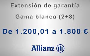 Extensión de garantía 2+3 Allianz de 1.200,01 a 1.800 € - Gama blanca