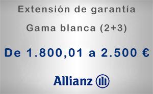 Extensión de garantía 2+3 Allianz de 1.800,01 a 2.500 € - Gama blanca