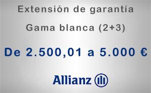 Extensión de garantía 2+3 Allianz de 2.500,01 a 5.000 € - Gama blanca