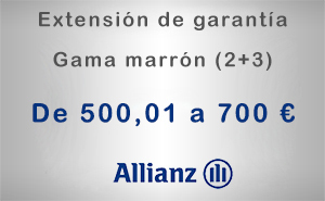 Extensión de garantía 2+3 Allianz de 500,01 a 700 € - Gama marrón