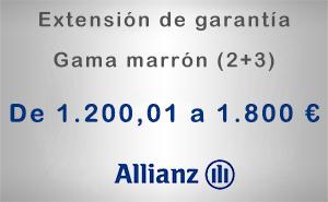 Extensión de garantía 2+3 Allianz de 1.200,01 a 1.800 € - Gama marrón